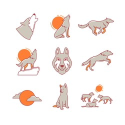 Wolves hauling at the full moon on the rock, jumping and running, wolf cub, head and pack. Thin line icons set. Modern flat style symbols isolated on white for infographics or web use.