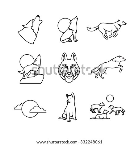 Wolves hauling at the full moon on the rock, jumping and running, wolf cub, head and pack. Thin line art icons set. Modern black symbols isolated on white for infographics or web use.