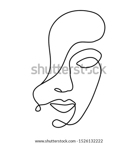 Woman abstract face, one line drawing. Hand drawn outline illustration. Continuous line. Portret female. Vector illustration Stockfoto ©