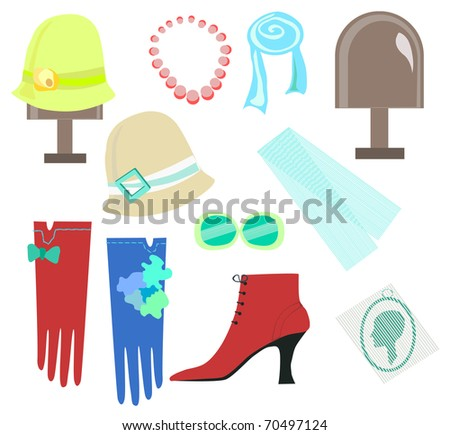 woman accessories isolated on white - stock vector
