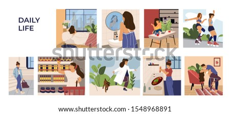 Woman activities scenes. Cartoon hand drawn young girl character leisure, work and routine. Vector illustration sleeping shopping, resting, cooking on kitchen, skates, dances set