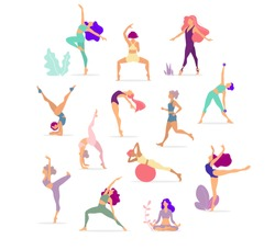 Woman activities. Set of women doing sports, yoga, dancing, running, jogging, jumping, fitness. Sport women vector flat illustration isolated on white background in different poses - Vector