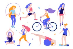 Woman activities. Set of women doing sports, yoga, riding the bicycle, roller-skating, jogging, jumping, fitness. Sport women vector flat illustration isolated on white background in different poses