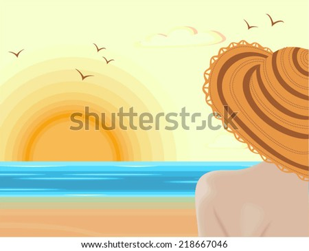 woman admiring sunset in