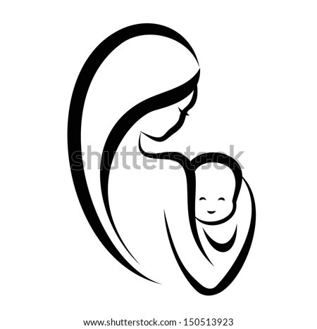 woman and baby  isolated vector