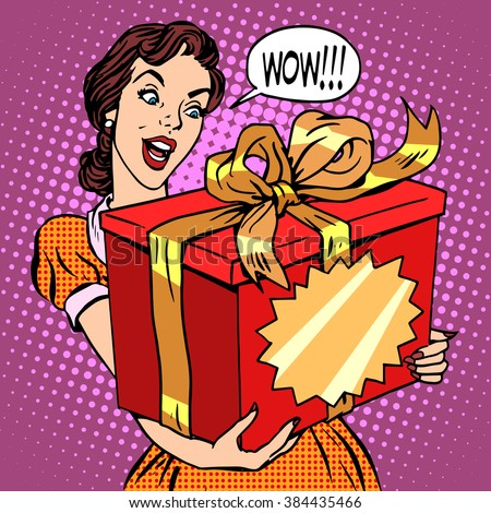 woman and big gift box