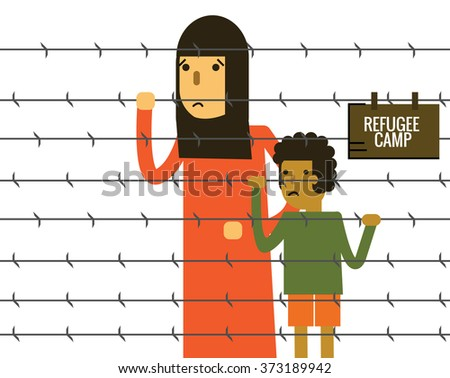 woman and child holding barbed