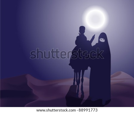 Woman and child in the desert moonlight
