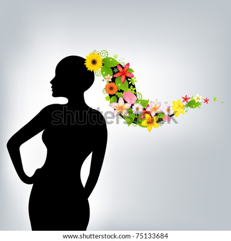Woman And Flowers, Vector Illustration
