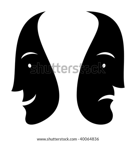 Black silhouette ink drawing sad man and smiled woman faces on white