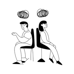 Woman and man angry to each other. Mental health concept. Outline vector illustration on white background.