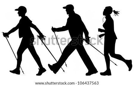 Woman and man are practicing Nordic walking and jogging