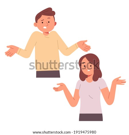woman and man clueless confused puzzled question ask not sure pick do not know in flat vector cartoon illustration style