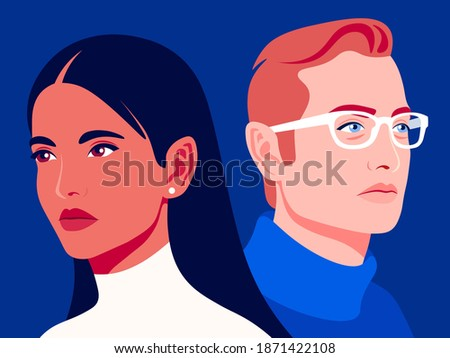 Woman and man. Family relationships and gender conflict. Psychology. Husband and wife are getting divorced. Vector flat illustration Stockfoto ©