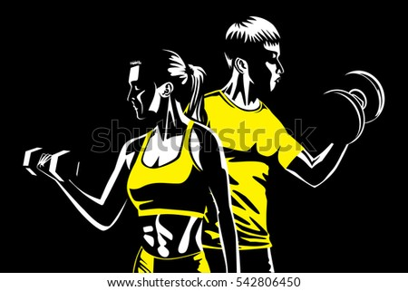 Woman and man fitness with lifting dumbbell. Illustration about sport and fitness.