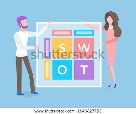 Woman and man flat view, people holding screen with letters. Data business analytics techniques, distance practice. Man and woman with ABC isolated