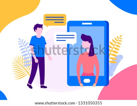 Woman and man having chat message on smartphone. Mobile phone chatting, people texting cellphone messages and sms messaging bubble text on screen, conversation vector flat illustration. Can be used fo