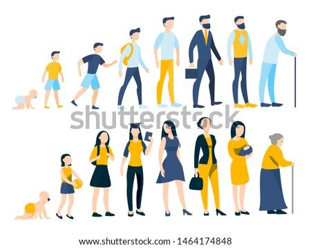 Woman and man in different age. From child to old person. Teenager, adult and baby generation. Aging process. Isolated vector illustration in cartoon style