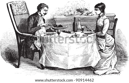 Woman and Man on dining table - Vintage illustration from