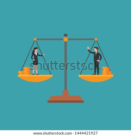 Woman and man on scales, male and female manager have equal weight and money. Concept of gender equality, no wage gap, fairness, woman's and man's rights at work, feminism and masculism. Flat vector.