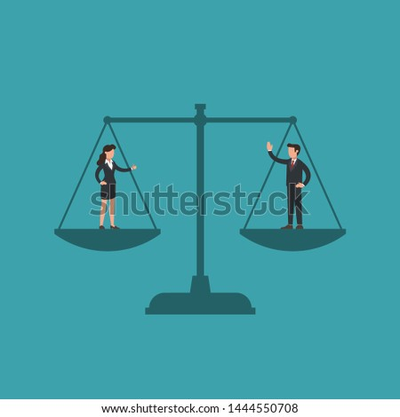 Woman and man on scales, male and female manager have equal weight. Concept of gender equality, no wage gap, fairness, woman's and man's rights at work, feminism and masculism. Flat vector.
