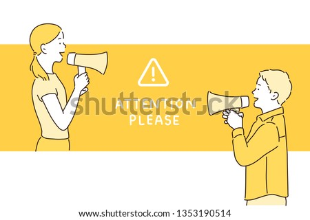 Woman and man on vibrant yellow background shouting through a megaphone to announce something in lateral position. Hand drawn style vector design illustrations.
