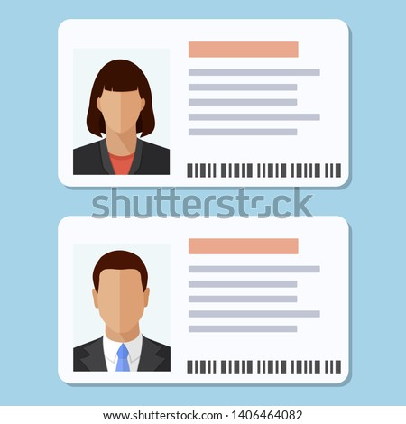 woman and man plastic id cards
