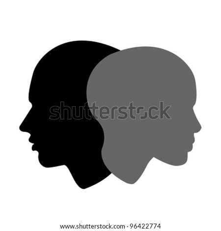 woman and man profile, vector