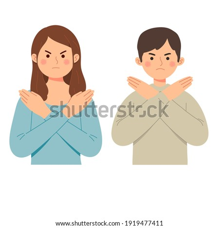 Woman and man says no with gesture deny expression angry grumpy ban vector illustration flat cartoon style Foto d'archivio ©