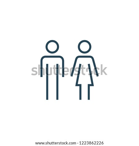 Woman and man sign line icon