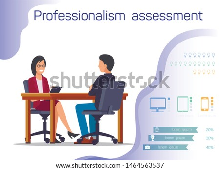 Woman and Man Sitting at Table Opposite Each Other. Professionalism Assessment. Candidate for Position. Interview in Office. Vector Illustration. Recruitment Agency. Recruiting Director Selection.