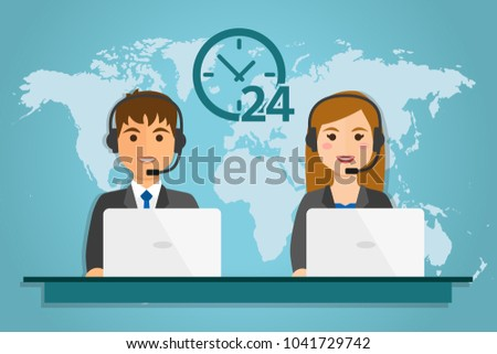 Woman and man with computer wearing headsets, on world background. Call center service 24 hours. Vector illustrator.