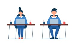 Woman and man working on laptop. Business team sitting on table. Freelance, office concept. Vector illustration in flat style isolated on white background