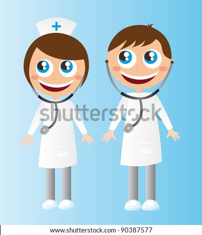 woman and men doctors cartoons with stethoscope. vector
