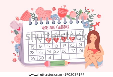 Woman and period calendar. Female check dates of menstruation cycle. Calendar schedule for critical days and hygiene products vector concept. Female calendar menstruation illustration