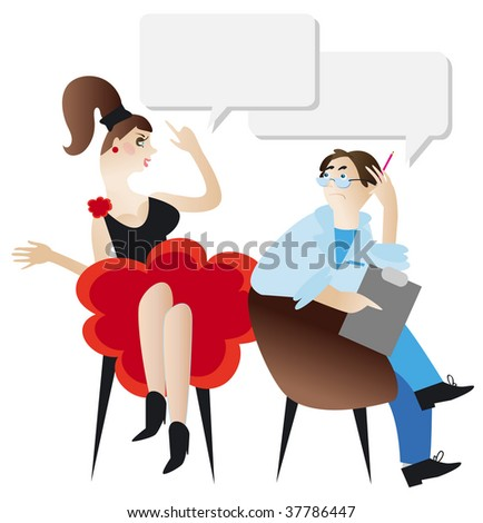 Woman and psychologist. Funny vector illustration