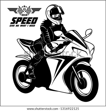 woman and sport motorbike