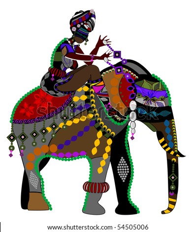 stock vector : woman and the elephant in the ethnic style on a white background