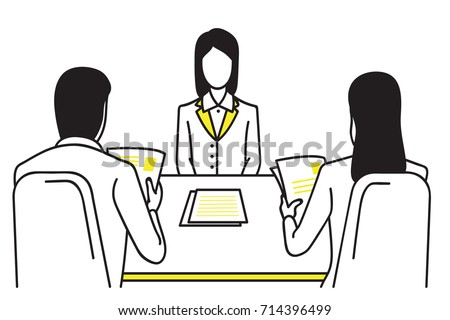 Woman applicant or candidate during job interview by recruiter. Business concept in job interview. Outline, thin line art, linear, hand drawn sketch design, simple style.