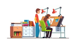 Woman architect drawing, making design project in designer studio workshop office. Colleague standing at drawing board desk. Workshop or designer office room decoration. Flat vector illustration