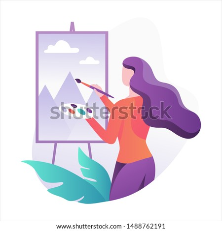 Woman artist standing at the easel and painting. Young painter with palette. Creative profession. Vector illustration in flat style isolated