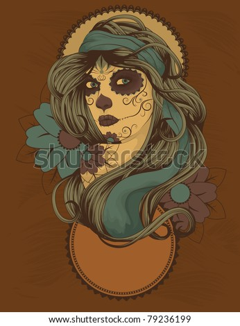 woman as sugar skull with