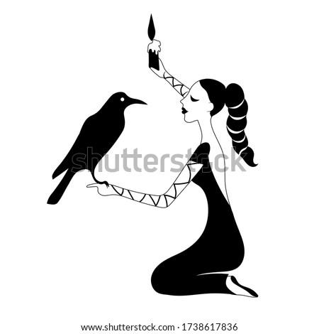 woman asks the raven vector