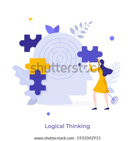 Woman assembling jigsaw puzzle and head with maze inside. Concept of logical thinking, analytical mind, human intelligence, problem solving, brainstorming. Modern flat colorful vector illustration. Сток-фото ©