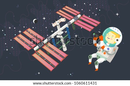 woman astronaut in outer space