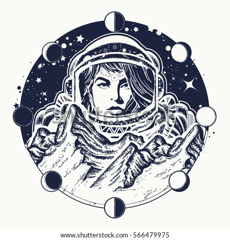 woman astronaut tattoo art