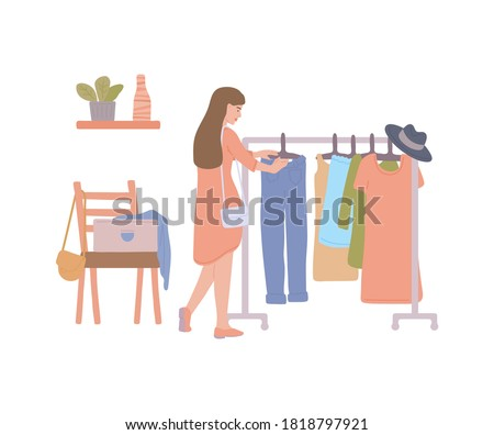 Woman at fashion thrift shop choosing second hand clothes from rack. Cartoon girl at swap party or clothing exchange store, isolated vector illustration. Stockfoto ©