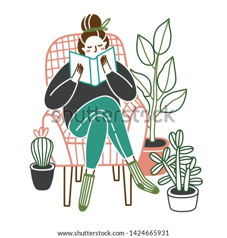 Woman at home reading a book in chair. Girl sitting in chair reading interesting book, or studying. Crazy plant lady. Vector illustration isolated on white background.