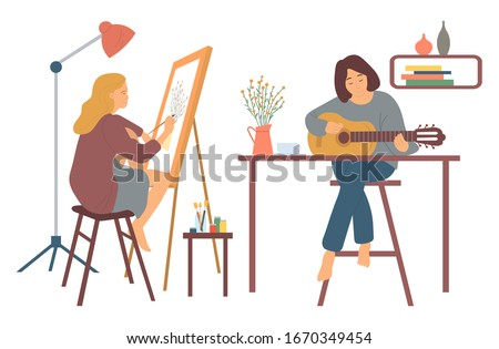 Woman at home vector, hobby of lady sitting on high stool playing guitar. Guitarist musician and painter, artist with brushes easel with canvas interest