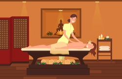 Woman at massage therapist cabinet. Beauty salon